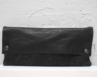 Black Leather Clutch / Gray Purse / Women's Handbags / Cool Clutch Bag