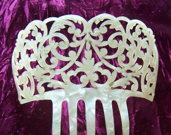 Pearlised effect celluloid Spanish mantilla style hair comb effect mid century headdress headpiece hair accessory