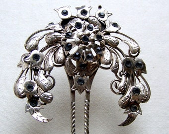 Vintage Indonesian hair comb silver leaves design hair ornament accessory pin fork pick (AAW)