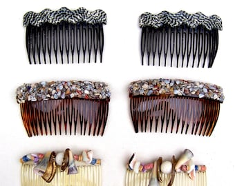 6 retro hair combs 1970s shell marble chip hair accessories ornament jewelry