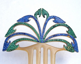 Art Deco rhinestone hair comb celluloid hair comb hair accessory Spanish comb decorative comb hair ornament rhinestone comb hair jewelry
