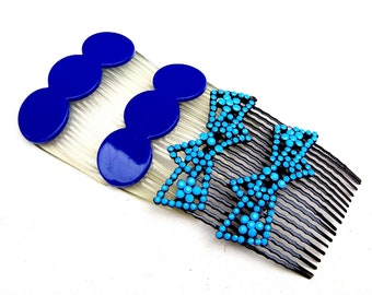 2 matched pair blue hair combs mid century side comb celluloid decorative ornament hair jewelry