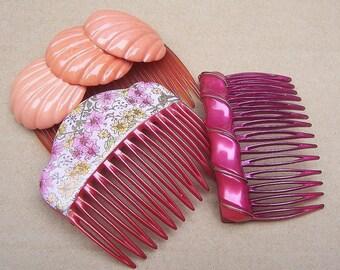 Decorative hair comb 3 pink hair accessories hair pin hair clip hair barrette hair slide hair jewelry hair ornament headdress (AA)
