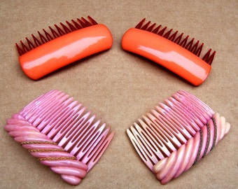 Vintage hair combs 2 pink theme hair accessory headdress headpiece hair jewellery decorative combs