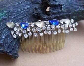 Vintage hair comb Hollywood Regency rhinestone hair accessory hair pin hair barrette hair clip hair slide hair jewelry headdress