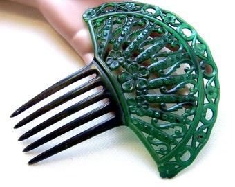 Art Deco green celluloid Spanish style hair comb hair accessory decorative comb hair ornament headdress