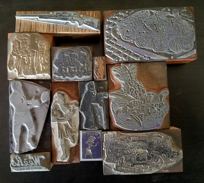 Vintage Letterpress Printing Blocks Cuts Stamps Wood Lot FREE Ship 12 Piece Football player Food Rifle Bagpipe