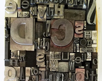Vintage Letterpress Type Printing Metal Mixed Font