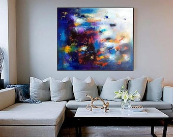 Navy blue abstract wall art painting canvas print, cobalt blue decor large stretched canvas artwork, blue wall art giclee canvas prints