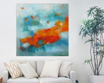 Turquoise Orange modern abstract 24x24 original, Modern Loft wall art, contemporary minimalist canvas,XL art print,Extra large giclee canvas
