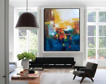 Extra large wall art print abstract art canvas oversized giclee canvas prints, office art navy blue and mustard yellow living room paintings