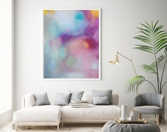 Pink abstract wall art large canvas art print pastel abstract painting, minimalist artwork contemporary fine art home wall decor Etsy