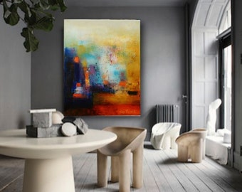 Abstract art canvas, extra large vertical giclee print, red blue gold modern painting fine art canvas wall art prints Etsy wall decor office