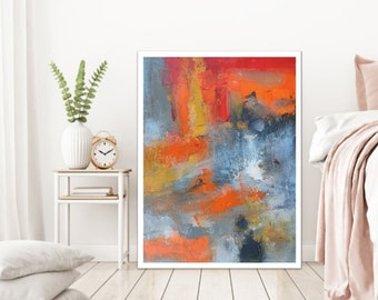 Modern painting abstract wall art, colorful gray orange canvas print, bright giclee wall decor for home office gray orange art canvas Etsy