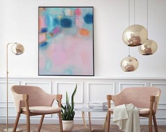 blush Pink Turquoise soft pastel feminine art, Modern pink blue art canvas, Boho interior trends, Pink and Navy giclee canvas print wall art