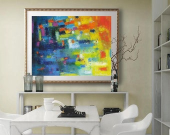 abstract wall art print, modern office wall decor, colorful art prints turquoise blue teal yellow, bright artwork horizontal giclee canvas