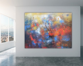 Oversized abstract art print, huge wall art canvas red blue artwork, modern office decor large horizontal painting art prints lobby art work