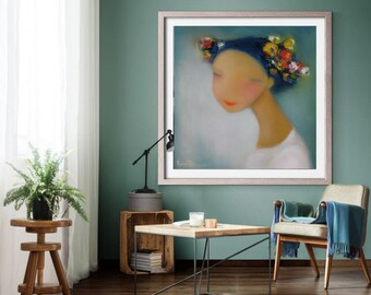 Ukrainian Girl abstract portrait painting, women wall art print abstract female artwork, whimsical paintings of people figurative art print