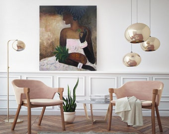"Blush Pink Abstract figure Lady Pineapple art original oil canvas painting 31""x35"" modern female abstract figure, pink canvas wall art"