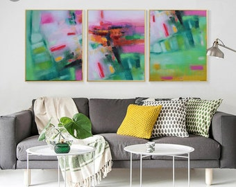 Abstract triptych wall art prints pink green yellow, three piece large wall art canvas colorful bright set of 3 abstract panels modern decor