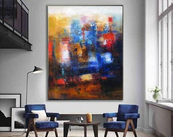 Abstract wall art oversized canvas, navy blue red modern extra large wall decor, vertical giclee artwork prints huge art office wall prints