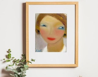"""Portrait oil canvas fine art 8""""x10"""", prints from original on canvas and paper,figurative art,giclee print,female face abstract original art"""