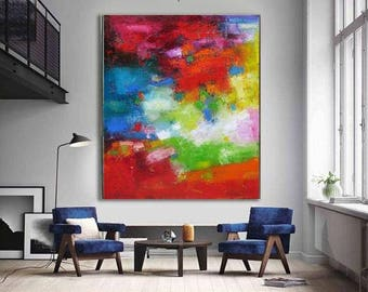 Colorful abstract wall art print, canvas painting bright red green modern wall decor, giclee prints extra large vibrant art posters Etsy