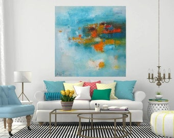 Turquoise wall art abstract canvas print, extra large blue artwork modern office decor, oversized square painting giclee canvas prints Etsy