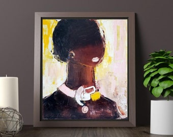 """XL fine art canvas print, original oil on canvas 19""""x22"""", modern abstract figurative painting female,African American women beauty fashion"""