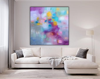 Extra large wall art pink abstract art canvas, oversized pastel painting colorful large square, art canvas modern print teal and bright pink