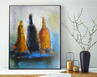 Still life painting wall art print giclee canvas, abstract wine bottles rustic shabby chic artwork, modern farmhouse kitchen wall decor
