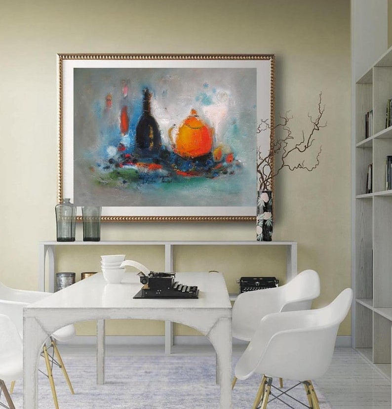 Merveilleux Modern Still Life Painting Dining Room Food Wall Art Print, Turquoise  Orange Large Horizontal Kitchen Fruits Print On Paper Or Canvas