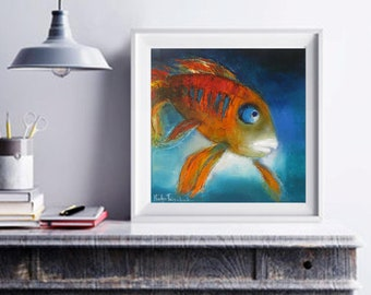 koi fish painting wall art abstract print blue gold art print canvas, children bedroom decor nursery wall art prints whimsical artwork ocean