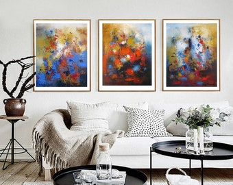 Abstract wall art set three panels, canvas prints split triptych artwork, mustard yellow red navy poster art extra large wall decor Etsy