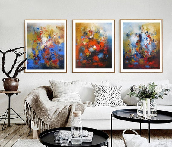 Abstract Wall Art Set Three Panel Canvas Prints Split Triptych Etsy