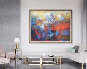 Oil on canvas original abstract wall art, abstract painting art for over sofa, horizontal abstract canvas, textured oil painting on canvas