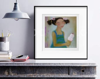 Abstract figurative wall art print, Girl with ice-cream painting, whimsical artwork kids room decor, female abstract face people paintings