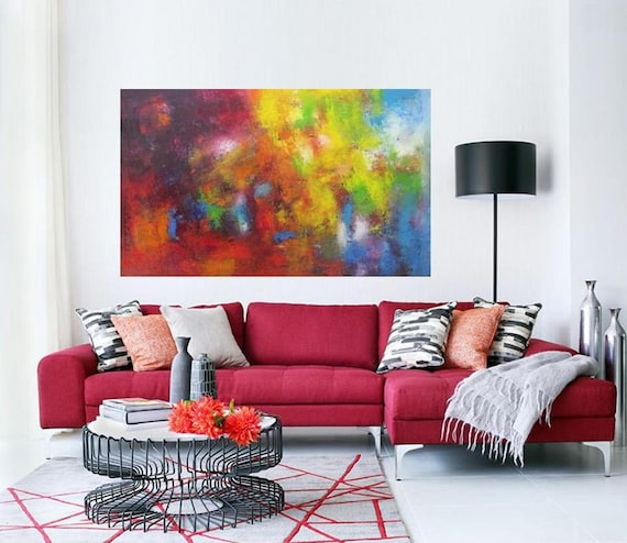 colorful abstract wall art print from original oil painting in bright red colors artwork for modern living home office contemporary art Etsy