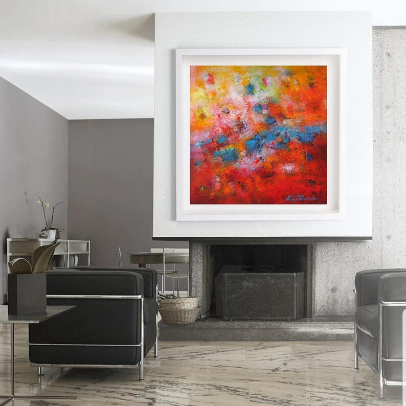 Fantastic Bright Colors Oversized Abstract Wall Art Xxl Painting For Hotel Building Lobby Huge Wall Hanging Canvas Law Office Xl Statement Print Home Interior And Landscaping Staixmapetitesourisinfo