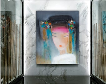 Large wall art Geisha painting, Asian woman art print figurative abstract portrait Japanese doll face artwork giclee canvas prints oversized