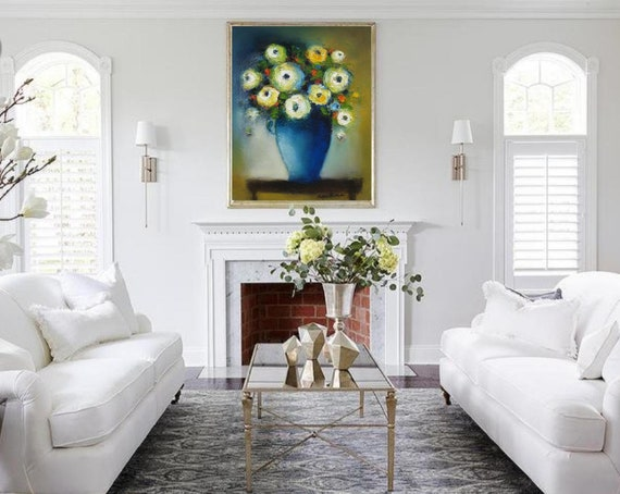 Flower Still Life Modern Farmhouse Art Living Room Wall Decor Etsy