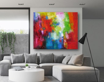 Abstract wall art large canvas print, oversized bright painting modern giclee artwork, colorful prints modern office decor huge canvas Etsy