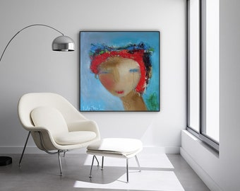 Women abstract face portrait painting wall art print, figurative abstract art prints, modern painting of people turquoise blue red wall art