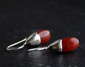 Red onyx drops and sterling silver dangle earrings - READY to SHIP