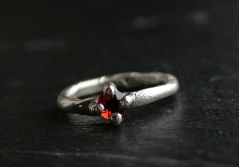 OOAK Sterling silver and natural garnet primitive ring ready to ship in size 8