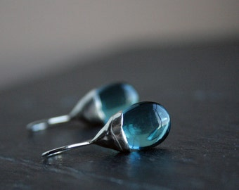 gorgeous teal quartz drops and sterling silver dangle earrings - ready to ship