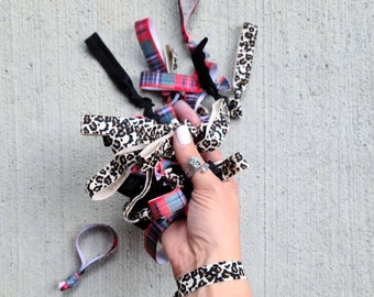 BULK HAIR TIES - Grab Bag - Assorted Mix - Yoga Bands.  Black,  Plaid & Animal Prints - Fall Vibes