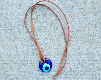 Evil Eye Protection Necklace - Glass 1 Inch Bead - Your choice of faux suede