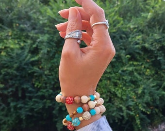 Set of Three Beaded Bracelets- Aqua & Red