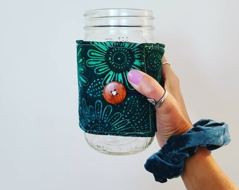 The 32 Ounce Mason Jar Sleeve. Batik Tie Dye Green Floral